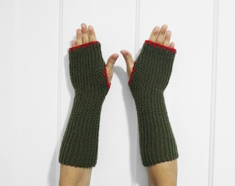 Long Fingerless Gloves / Armwarmers [Army Green & Red]