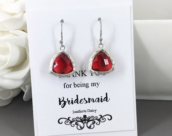 Clearance Red Drop Earrings Bridesmaid Earrings Bridesmaid Gift Ruby Red Crystal Christmas Jewelry Valentine's Day Jewelry