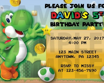 Mario Bros.' Yoshi Birthday Invitation, 5x7, 4x6, DIGITAL file