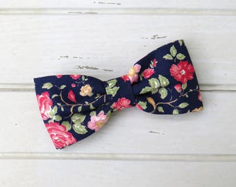 Navy Blue Floral, Red Rose Bow Tie, Summer Bow Tie, Spring Bow Tie, Bow Tie for Wedding, Groomsmen and Groom Bow Tie, Mens & Kid Bow Tie