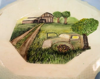 Wedding Gift, Large Serving Tray, Hand Painted Old Farm Scene, Old Truck & Barn, Serving Platter, Anniversary Gift, Octagon Platter