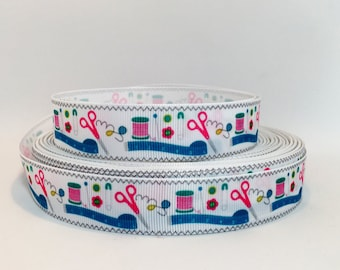 "7/8"" Sewing Themed Grosgrain Ribbon, Sewing Thread , Needle, Scissors, and Tape Measure"
