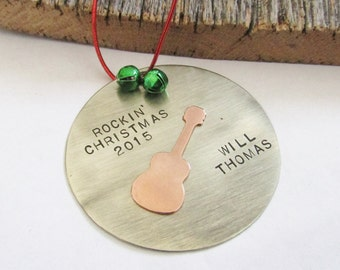 Personalized Ornament Rockin' Christmas Custom Name Ornament Music Ornament Gift for Boyfriend Gift for Son Gift for Nephew Rock and Roll