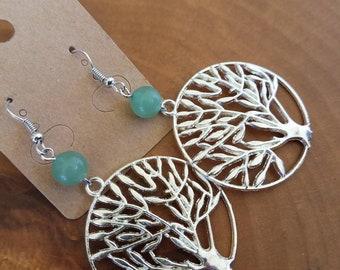 Jade Tree of Life Silver Dangly Earrings