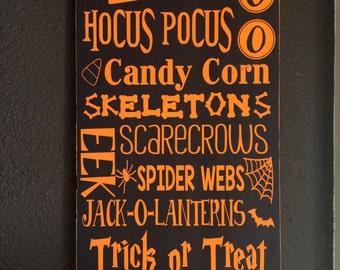 Handpainted Halloween Typography Subway Art Sign