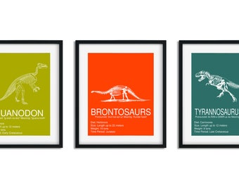 Dinosaur Wall Decor, Dinosaur Skeleton, Prehistoric Dinosaur Print, Dinosaur Room Decor, Dinosaur Wall Art