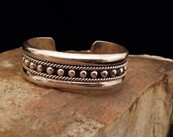 Beautiful Vintage Sterling Silver Rope and Ball Designed Cuff Bracelet