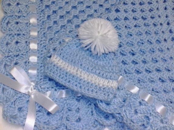 Crochet Granny Square Baby Blanket Set Newborn Hat Booties