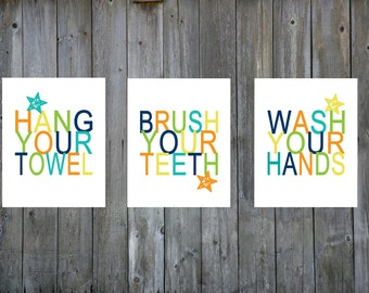 Bathroom art, instant download, bundle, printable, wash your hands