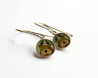 Tiny Reindeer Earrings - Christmas Earrings - Festive Jewelry - Holiday Earrings - Drop Earrings - Stocking Stuffer - Best Friend Gift