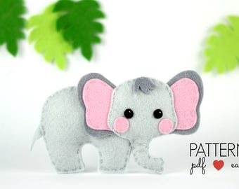 Safari Felt Elephant Pattern  Elephant Sewing Pattern  Felt Animal Pattern  Elephant Toy  Ornament  Safari Mobile Pattern