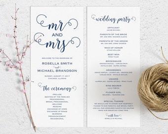 Navy Blue Wedding Program Template, Wedding Ceremony Program, Printable Programs, Kraft Wedding Program, fan, PDF Instant Download, WPC_261