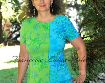 Wearable art a-line tunic, handmade hand printed jersey top, floral tunic short dress, short sleeve lime turquoise t-shirt dress, summer top