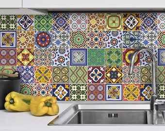 Kitchen Backsplash Tiles - Talavera - Kitchen Splashback - Tile Stickers - Tile Decals - Pack of 48 - SKU:TALT