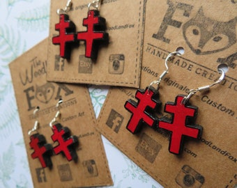 """Earrings in 925 Sterling Silver """"Cross of Lorraine"""" and wood - cut and hand painted"""