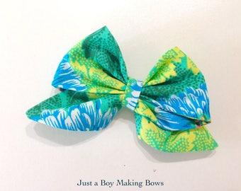 Leafy Green Girls Hair Bow Tropical GABMB