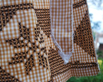 Apron - Retro Brown and White Gingham