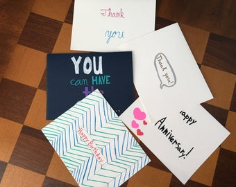 Variety Pack of 5 Greeting Cards
