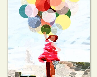 Girl with Balloons, Wall Art Printable, Abstract print , Modern wall art - Instant Download
