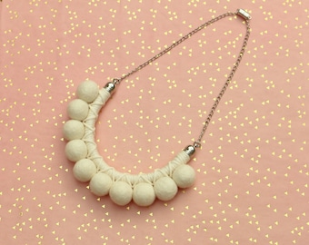 White Pom Pom Necklace For Women, Pompom Jewelry, Rope Statement Necklace, Chunky Wool Necklace, Gift For Her, Felt Necklace
