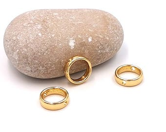 10 Pearl frames circles round 12mm gold plated