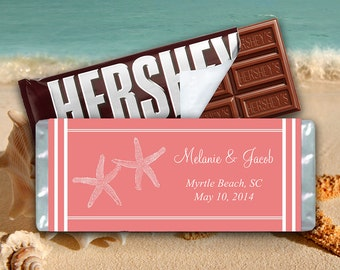 Starfish Beach Wedding Candy Bar Wrapper Template | Coral Peach | 1.55 oz Hershey Bar Wrapper | Instant DOWNLOAD Candy Wrapper - YOU PRINT