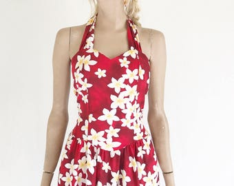 Vintage 80's Hawaiian Halter Dress. Size Small