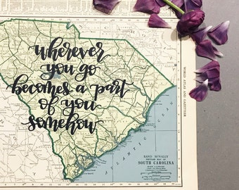 Rhode Island & South Carolina   personalized calligraphy map   original vintage map   calligraphy map   custom calligraphy map