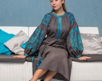 Boho embroidered dress Grey linen tunic plus size Mexican wedding dress Ukrainian vyshyvanka dress Christmas daughter gift Boho maxi dress