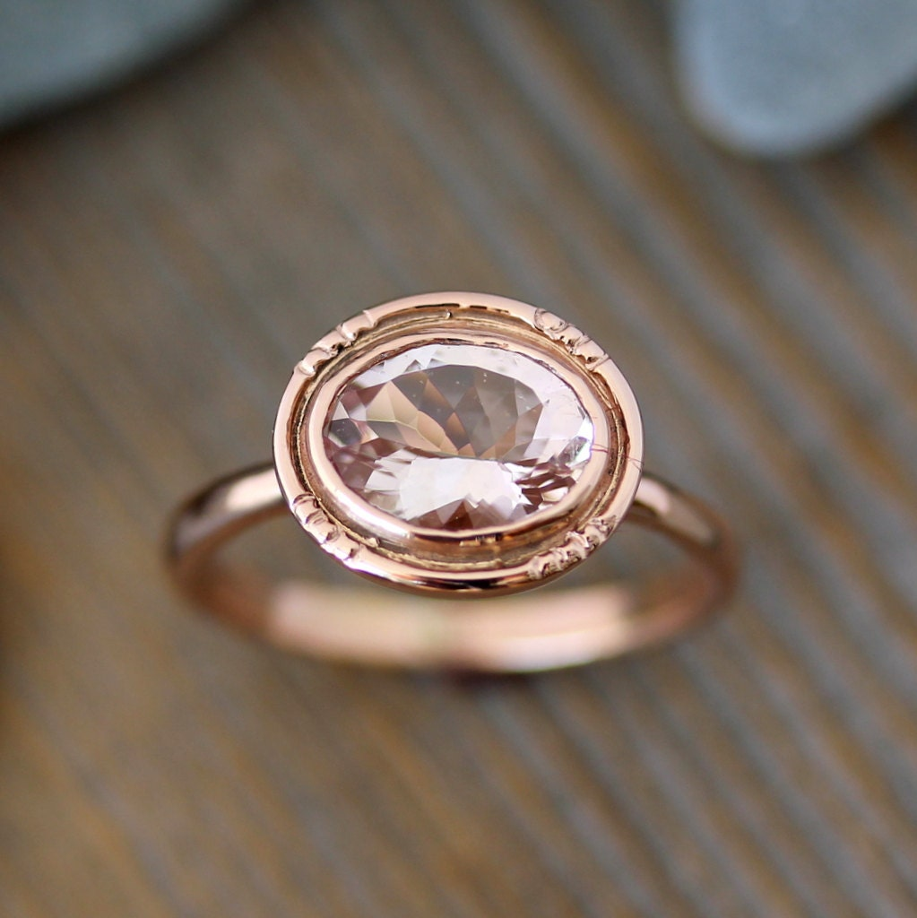 Oval Morganite 14k Rose Gold Engagement Ring Vintage Halo