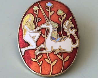 Lovely vintage woman and Unicorn cloisonne style brooch