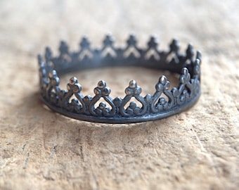 Black Crown Ring, Sterling Silver Tiara Ring, Bohemian Princess Ring, Antique Sterling Silver, Bohemian Ring, Bohemian Jewelry