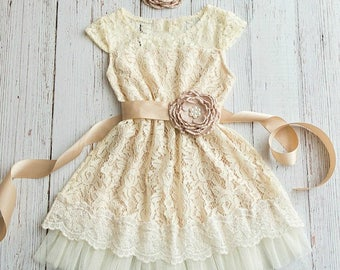 Rustic Flower Girl Dress Country Ivory Champagne Lace