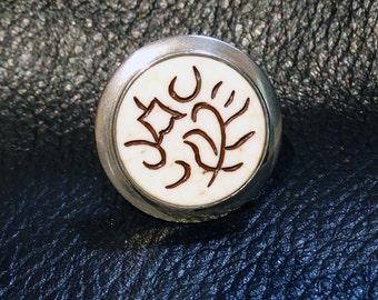 Vintage Sterling Ring Incised Ethnic Design