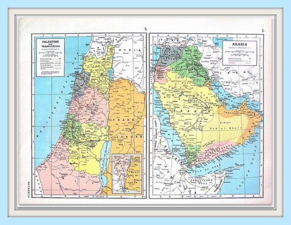 Map of turkey syria and lebanon map of palestine and map of turkey syria and lebanon map of palestine and trans jordan arabia 1947 vintage map large 2 sided book page from world atlas gumiabroncs Images