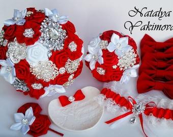 Brooch Bouquet, Bridal Bouquet, Wedding Bouquet, Fabric Bouquet, Unique Bouquet, Toss bouquet, Wedding Accessories,Wedding set, Red White