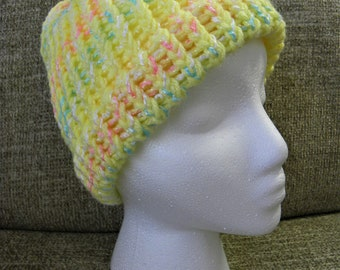 Bright Yellow, Pink, and Blue Child's Knit Hat