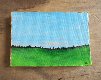 Miniature Landscape Painting, small original acrylic ACEO canvas art with green field and morning sky, dawn meadow scene