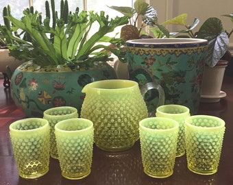 Fenton Hobnail Topaz Opalescent Squat Jug Pitcher and 6 Tumblers Glasses / Fenton Yellow Hobnail Opalescent Pitcher and Glasses MINT