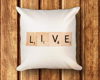 Scrabble Pillow LIVE Square pillow for great home decor and gift idea for the scrabble lover Wedding Birthday House Warming Gift