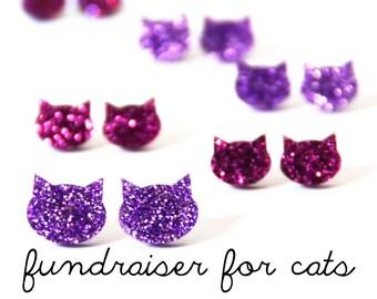 Glitter Cat Studs · Cat Earrings · Pink Cat Earrings · Lilac Cat Earrings · 2 sizes · FUNDRAISER FOR CATS