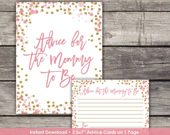 Pink and Gold Advice for Mommy to Be Card - Glitter Advice Card - Pink and Gold Baby Shower Game Baby-244