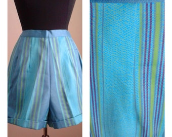 """Vintage 50s/60s Cotton Shorts/ """"Mode O Day""""/Blue Green Stripe/Deadstock/High Waist/Pinup Girl /1950 Rockabilly VLV /26 inch waist/Size S"""