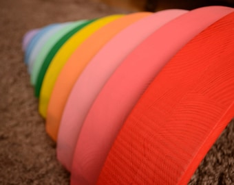 """Wooden Rainbow stacker - Extra large rainbow stacker - Wooden rainbow - Waldorf - 3.2"""" thick and 17.3"""" long - Arcoiris - Arcobaleno"""
