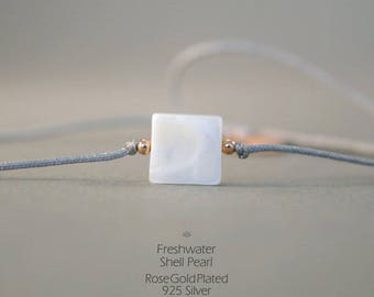 Bracelet with Shell-pearl in grey-Rosegold, 925 silver rose gilded, shell bead, friendship bracelet, thin wristband, shell, jewelry