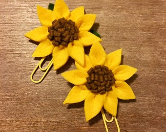 Wool Felt Sunflower Paperclip Planner Clip Bookmark Journal Marker