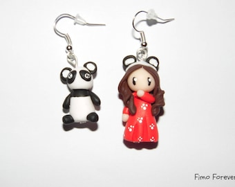 Earrings little girl panda