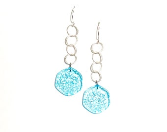 Light Turquoise Blue Textured 'Stained Glass' Lucite Chain Drop Earrings   Vintage Lucite Statement Earrings