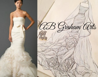 Personalized Wedding Dress Sketch