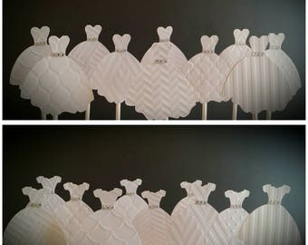 WEDDING DRESS CUPCAKE Toppers - Wedding Cupcake Toppers Set of 12